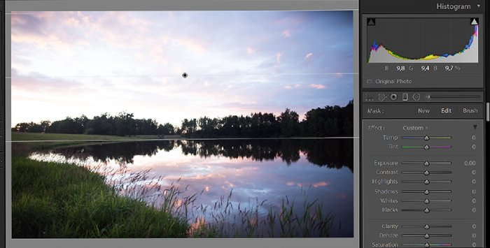 Screenshot of editing exposure in a landscape photo in lightroom