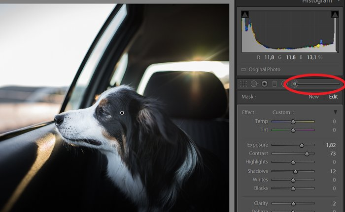 A screenshot of fixing an overexposed photo