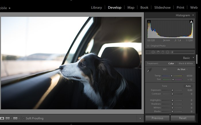 A screenshot of fixing an overexposed photo in Lightroom