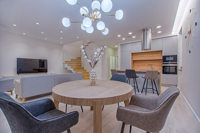A beautiful real estate shot of the interior of a living room