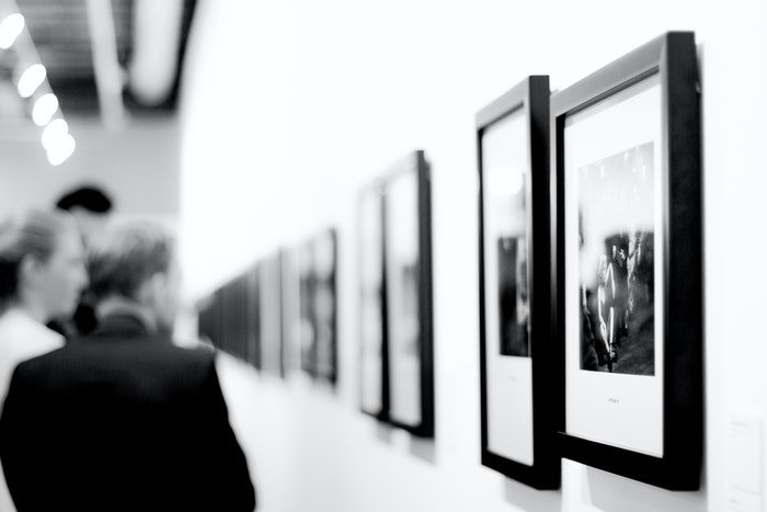 A photography exhibition in a gallery