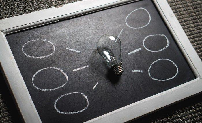 A lightbulb on a chalkboard