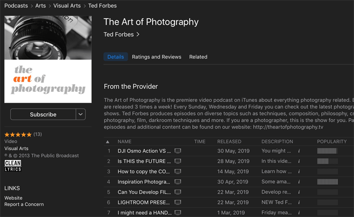 Screenshot of 'the art of photography' podcast playing in an app