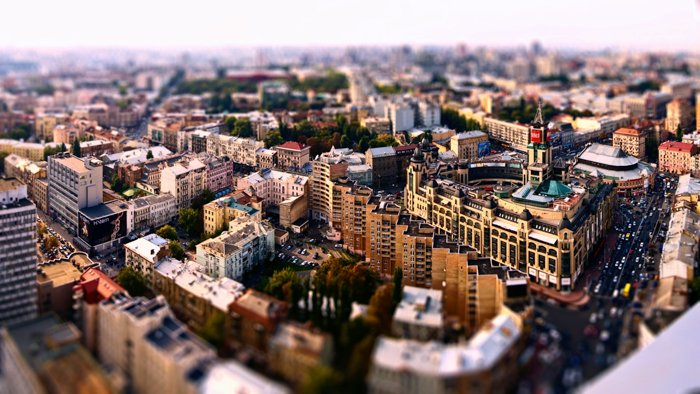 panorama of a city using a tilte-shift lens