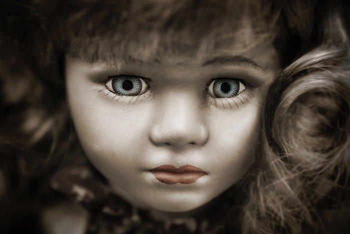 Close up portrait of a dolls face