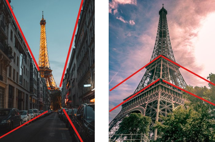 comparison between one- and two-point perspective, using pictures of the eiffel tower