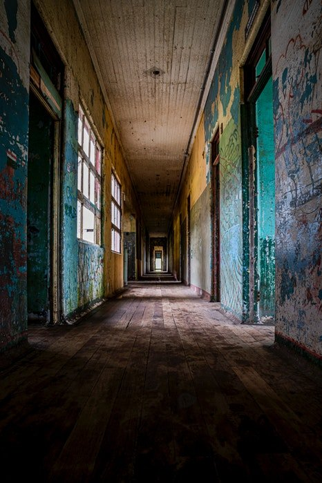 The corridor of an empty building