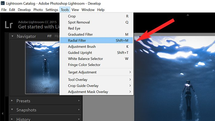 A screenshot of using radial filter to add a vignette to an image in Lightroom