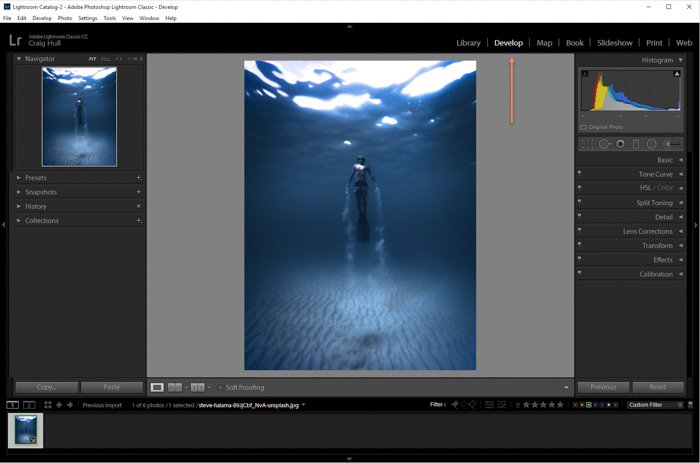 A screenshot of opening an image for editing in Lightroom