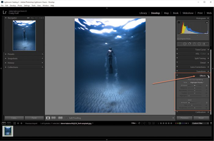 A screenshot of editing an image with effects panel in Lightroom