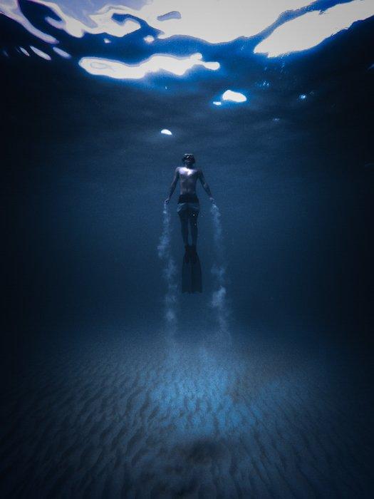 A diver underwater