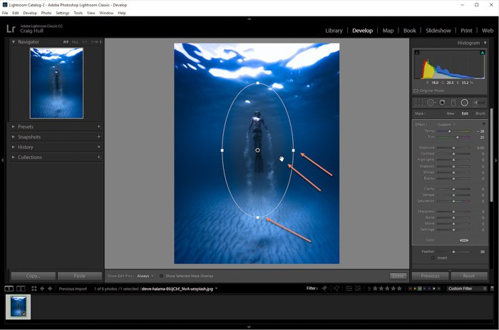 A screenshot of using radial filter to add a Lightroom vignette