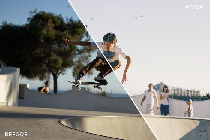 Um skatista pulando alto. Metade da imagem é escura e a outra metade é feita com uma predefinição, o que a torna clara.