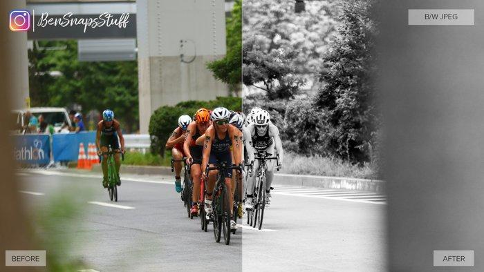 Imagem de pessoas em bicicletas. O lado esquerdo da foto é colorido e o lado direito é preto e branco.