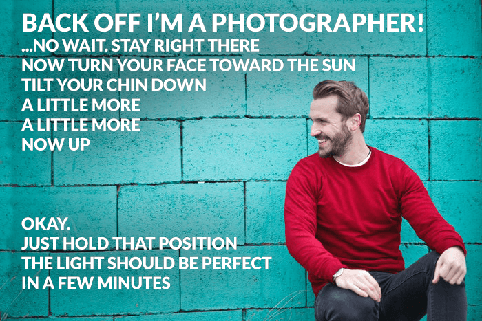 Funny photography joke over a photo of a man