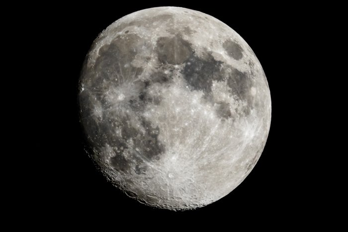 Moon closeup showing the details of the lunar surface.