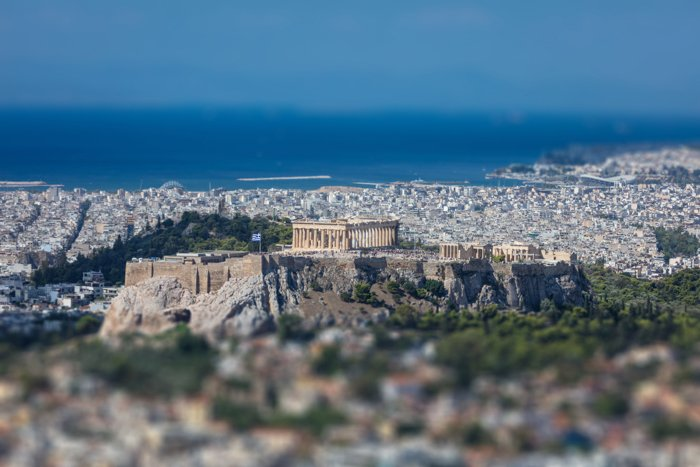 Panoramic aerial view of Acropolis of the city of Athens in Greece, tilt shift, view from Lycabettus hill