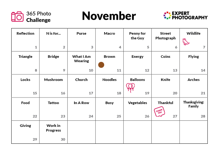 November Photo Challenge calendar