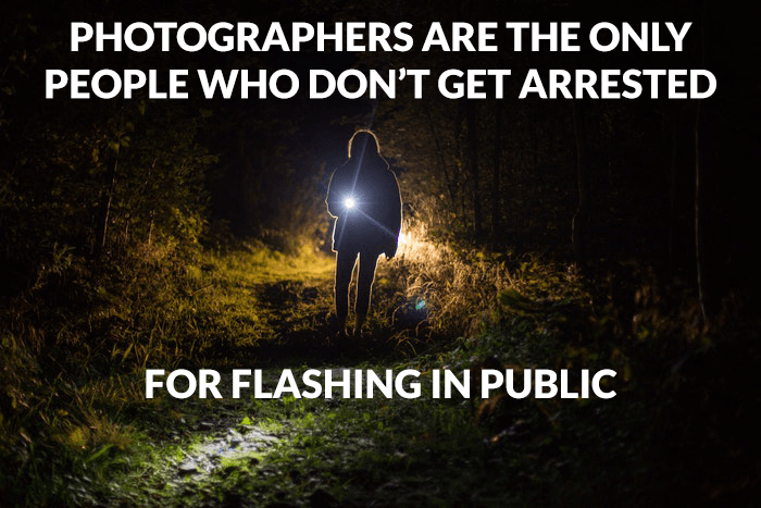 Photography joke over a photo of a person with a flashlight outdoors
