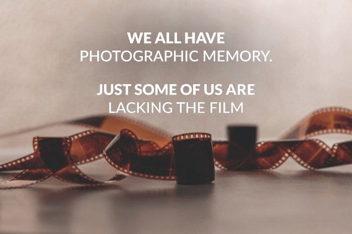 Photography pun over a photo of photographic negative