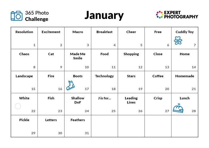 January photography challenge calendar