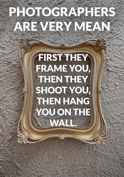 Photography joke over a photo of a gold frame on a wall