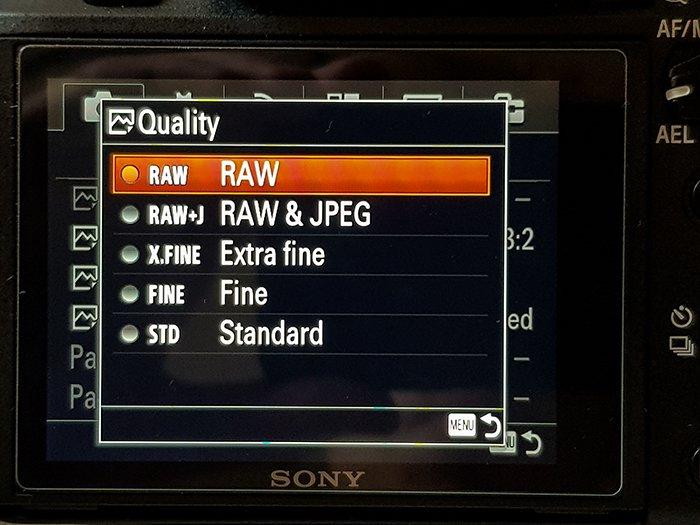 a screenshot of a Sony camera Quality menu