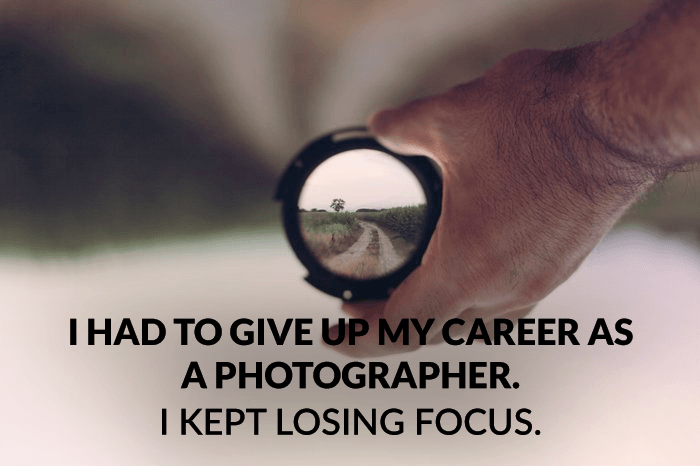 Photography joke over a photo of a person holding a camera lens