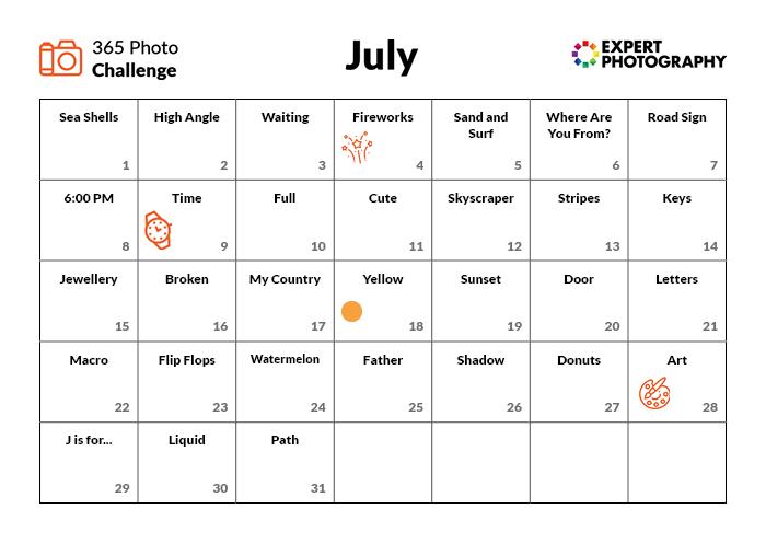 July Photo Challenge calendar