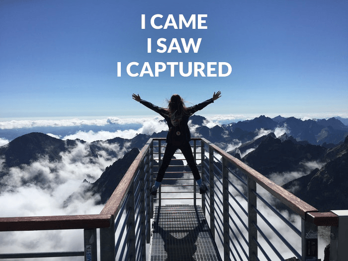 Photo of a person on a mountaintop overlayed with a photography pun