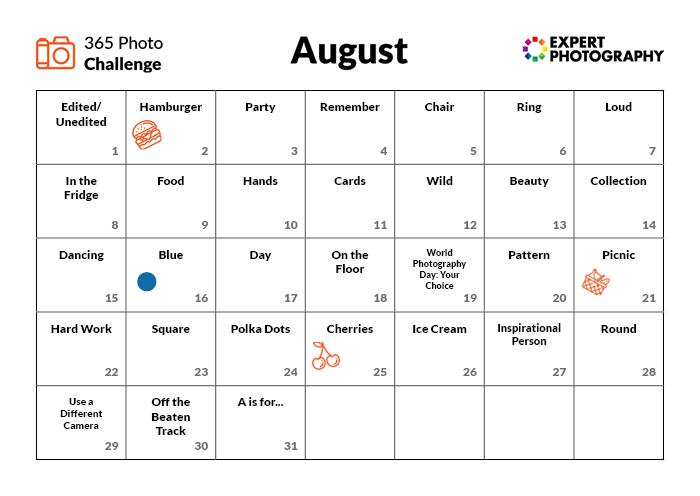 August Photo Challenge calender