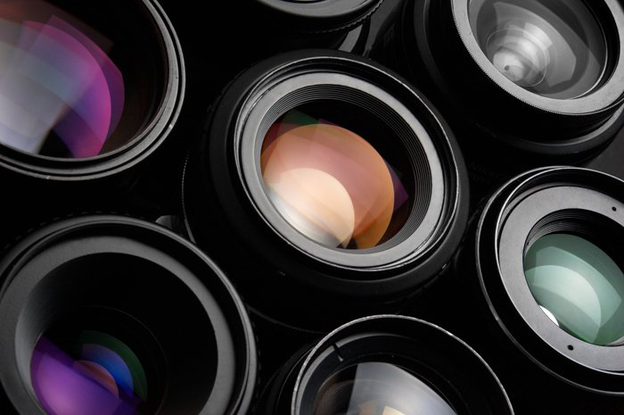 Group of colorful camera lenses