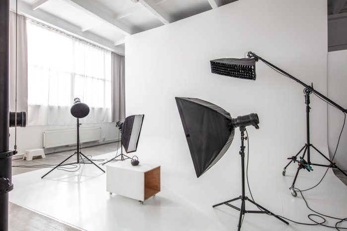 photographic studio space with white cyclorama and natural light