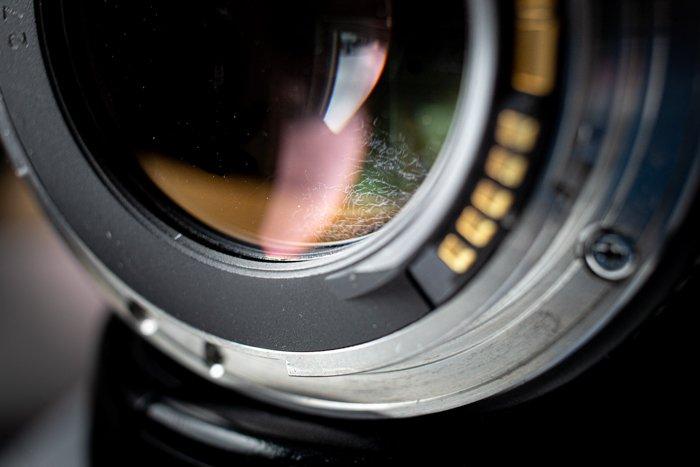 Closeup of a lens with camera lens fungus