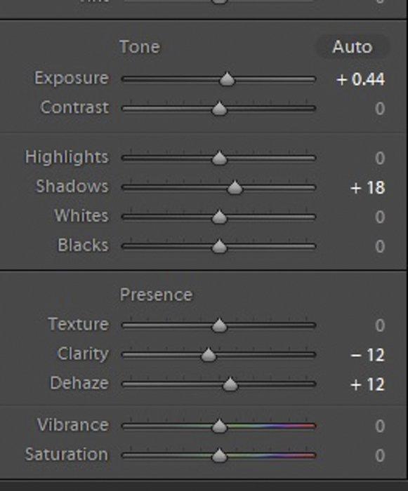 A screenshot of editing exposure settings in Lightroom
