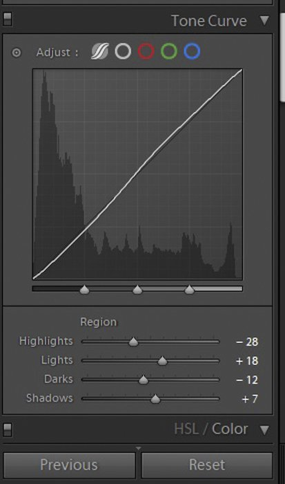 A screenshot of the tone curve panel in Lightroom