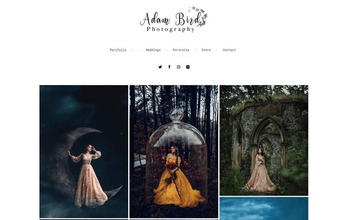 A screenshot from a beautiful photographers website