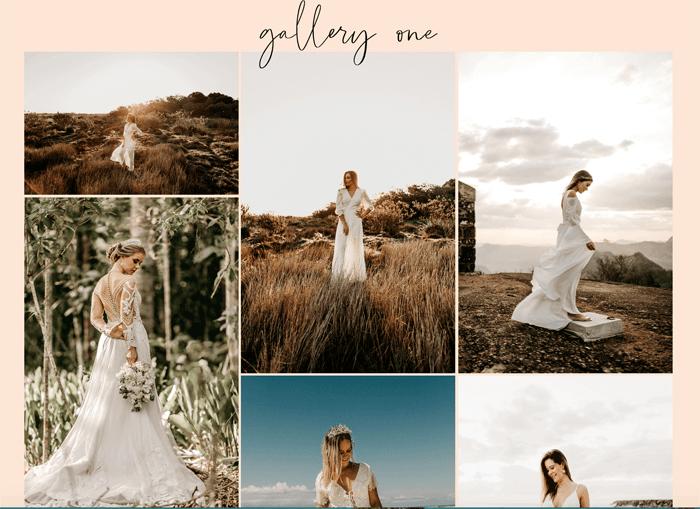 A screenshot from a beautiful wedding photography website