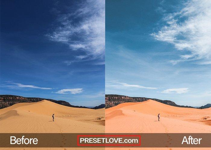 image of desert dunes edited with PresetLove Lightroom presets