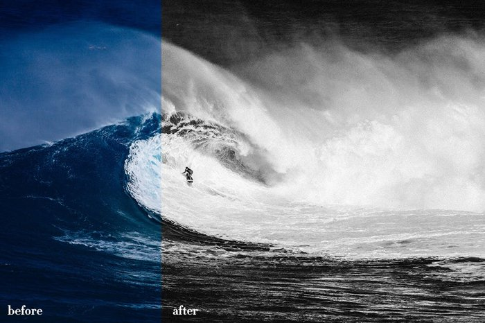 Before and After image of waves by The Editorial Collection v2 Lightroom presets