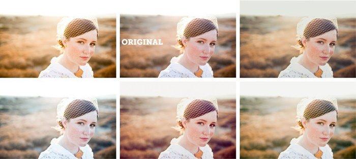 Bridal portrait before and after Super Preset Sample Pack Lightroom Preset edits
