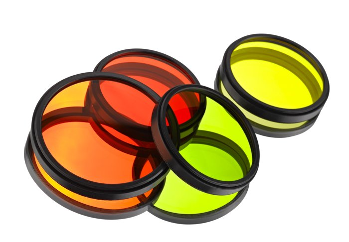 a set of red orange green and yellow colour filters