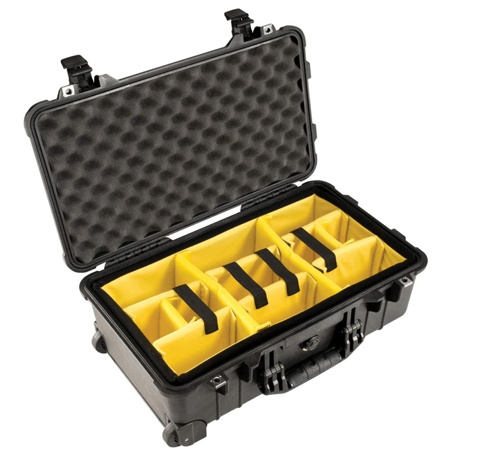 a shot of a pelican case with yellow padded dividers