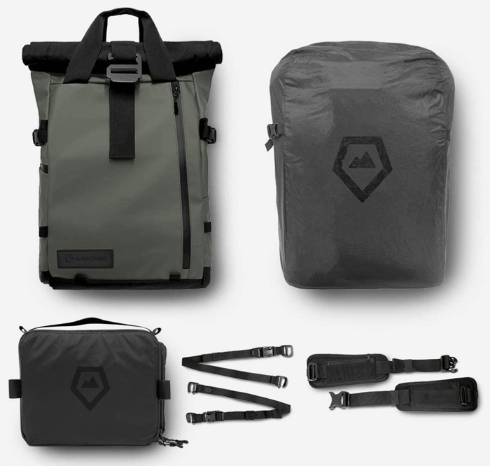 a shot of the PRVKE Travel and DSLR Camera Backpack in all its forms