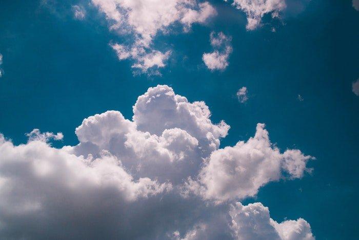 a shot of clouds against a blue sky
