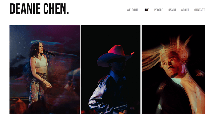 A screenshot of a portfolio from one of the best photography websites