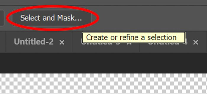 Screenshot of using the select and mask tool in Photoshop
