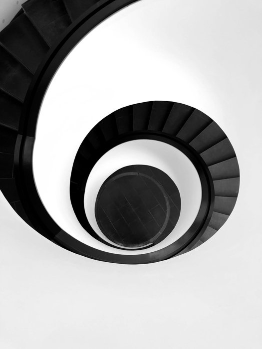 A spiral staircase showing radial balance