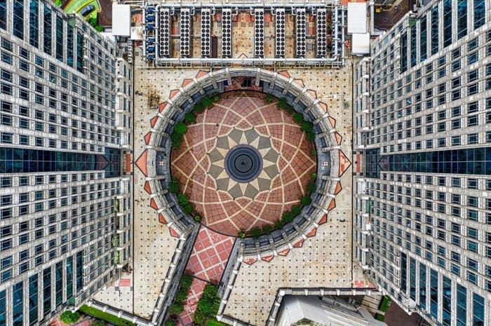 Birds eye view of interesting architecture