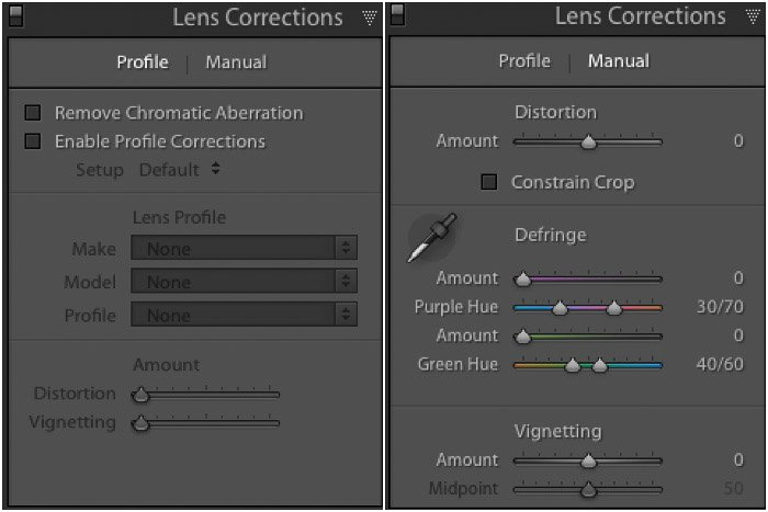 A screenshot of the Lightroom lens correction panel